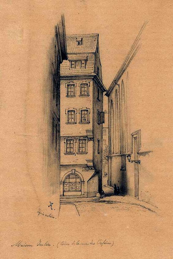 La boutique de Jean Frédéric Müller, rue des Orfèvres - dessin de Touchemolin, Cabinet des estampes, Strasbourg